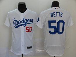 Mens Mlb Los Angeles Dodgers #50 Mookie Betts White Flex Base Nike Jersey