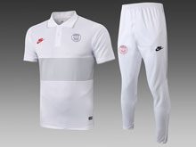Mens 19-20 Soccer Paris Saint Germain White Polo Shirt And White Sweat Pants Training Suit( Turn-down Collar )