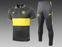 Mens 19-20 Soccer Inter Milan Club Black Yellow Polo Shirt And Black Sweat Pants Training Suit ( Turn-down Collar )