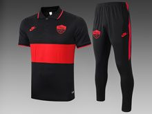 Mens 19-20 Soccer As Roma Club Black Red Polo Shirt And Black Sweat Pants Training Suit ( Turn-down Collar )