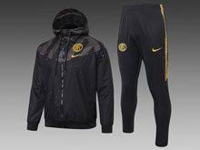 Mens 19-20 Soccer Inter Milan Club Black Wind Coat And Black Sweat Pants Training Suit ( Zipper )