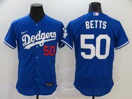 Mens Mlb Los Angeles Dodgers #50 Mookie Betts Blue Flex Base Nike Jersey