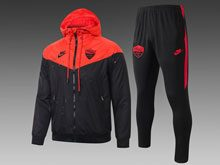 Mens 19-20 Soccer As Roma Club Red Wind Coat And Black Sweat Pants Training Suit ( Zipper )