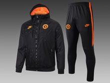 Mens 19-20 Soccer Chelsea Club Black Wind Coat And Black Wine Sweat Pants Training Suit ( Zipper )