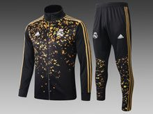 Mens 19-20 Soccer Real Madrid Club Black Printing Wind Coat And Black Sweat Pants Training Suit ( Zipper )