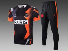 Mens 19-20 Soccer Paris Saint Germain Black Yellow Short Sleeves And Black Sweat Pants Training Suit ( Paris )