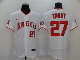 Mens Mlb Los Angeles Angels #27 Mike Trout White Flex Base Nike Jersey