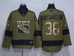 Mens Nhl New York Rangers #36 Mats Zuccarello Green Throwbacks Adidas Jersey