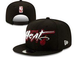 Mens Nba Miami Heat Black Snapback Adjustable Flat Hats