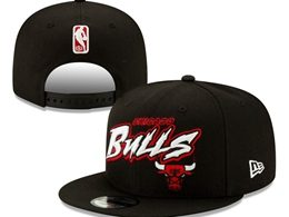 Mens Nba Chicago Bulls Black Snapback Adjustable Flat Hats