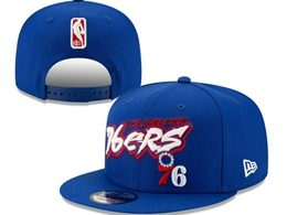 Mens Nba Philadelphia 76ers Blue Snapback Adjustable Flat Hats