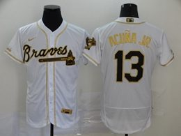 Mens Mlb Atlanta Braves #13 Acuna Jr White Throwbacks Golden Flex Base Nike Jersey