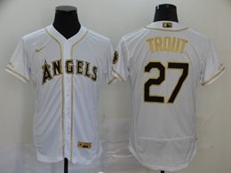 Mens Mlb Los Angeles Angels #27 Mike Trout White Throwbacks Golden Flex Base Nike Jersey