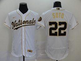 Mens Mlb Washington Nationals #22 Juan Soto White Throwbacks Golden Flex Base Nike Jersey