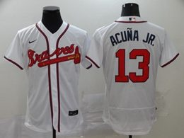 Mens Mlb Atlanta Braves #13 Acuna Jr White Flex Base Nike Jersey
