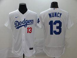 Mens Mlb Los Angeles Dodgers #13 Max Muncy White Flex Base Nike Jersey