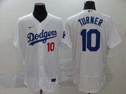 Mens Mlb Los Angeles Dodgers #10 Justin Turner White Flex Base Nike Jersey