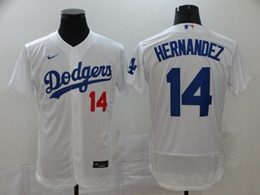 Mens Mlb Los Angeles Dodgers #14 Enrique Hernandez White Flex Base Nike Jersey