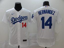 Mens Mlb Los Angeles Dodgers #14 Enrique Hernandez White Flex Base Nike Jersey