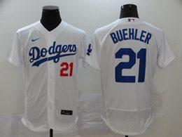 Mens Mlb Los Angeles Dodgers #21 Walker Buehler White Flex Base Nike Jersey