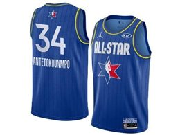 Mens 2020 All Star Nba Milwaukee Bucks #34 Giannis Antetokounmpo Blue Swingman Jordan Brand Jersey