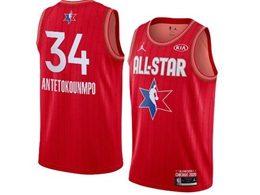 Mens 2020 All Star Nba Milwaukee Bucks #34 Giannis Antetokounmpo Red Swingman Jordan Brand Jersey