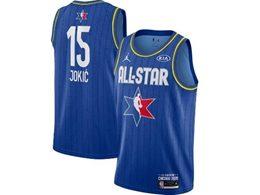 Mens 2020 All Star Nba Nike Denver Nuggets #15 Nikola Jokic Blue Swingman Jordan Brand Jersey