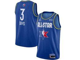 Mens 2020 All Star Nba Los Angeles Lakers #3 Anthony Davis Blue Swingman Jordan Brand Jersey