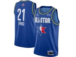Mens 2020 All Star Nba Philadelphia 76ers #21 Joel Embiid Blue Swingman Jordan Brand Jersey