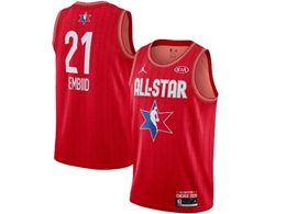 Mens 2020 All Star Nba Philadelphia 76ers #21 Joel Embiid Red Swingman Jordan Brand Jersey