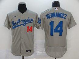 Mens Mlb Los Angeles Dodgers #14 Enrique Hernandez Gray Flex Base Nike Jersey