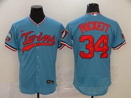 Mens Mlb Minnesota Twins #34 Kirby Puckett Blue Flex Base Nike Jersey