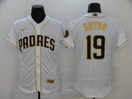Mens Mlb San Diego Padres #19 Tony Gwynn White Throwbacks Golden Flex Base Nike Jersey