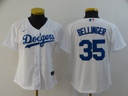 Women Youth Mlb Los Angeles Dodgers #35 Cody Bellinger White Cool Base Nike Jersey