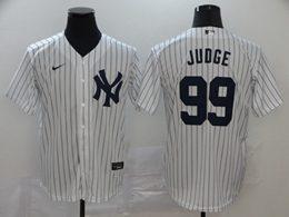 Mens Mlb New York Yankees #99 Aaron Judge White Stripe Flex Base Nike Jersey