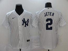 Mens Mlb New York Yankees #2 Derek Jeter White Stripe Flex Base Nike Jersey