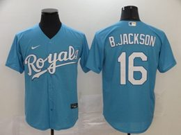 Mens Mlb Kansas City Royals #16 B.jackson Light Blue Cool Base Nike Jersey