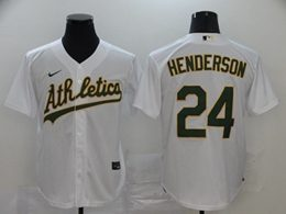 Mens Mlb Oakland Athletics #24 Rickey Henderson White Cool Base Nike Jersey