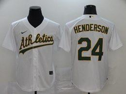 Mens Mlb Oakland Athletics #24 Rickey Henderson White Cool Base Nike Jersey
