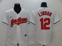 Mens Mlb Cleveland Indians #12 Francisco Lindor White Cool Base Nike Jersey