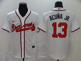 Mens Mlb Atlanta Braves #13 Ronald Acuna Jr. White Cool Base Nike Jersey