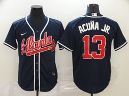 Mens Mlb Atlanta Braves #13 Ronald Acuna Jr. Blue Cool Base Nike Jersey