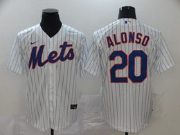 Mens Mlb New York Mets #20 Pete Alonso White Stripe Cool Base Nike Jersey