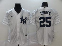 Mens Mlb New York Yankees #25 Gleyber Torres White Stripe Cool Base Nike Jersey