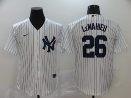 Mens Mlb New York Yankees #26 Dj Lemahieu White Stripe Cool Base Nike Jersey