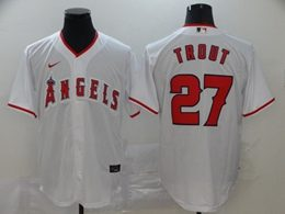 Mens Mlb Los Angeles Angels #27 Mike Trout White Cool Base Nike Jersey