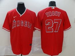 Mens Mlb Los Angeles Angels #27 Mike Trout Red Cool Base Nike Jersey
