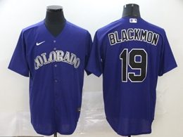 Mens Mlb Colorado Rockies #19 Charlie Blackmon Purple Cool Base Nike Jersey