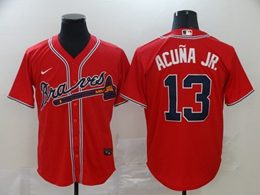 Mens Mlb Atlanta Braves #13 Ronald Acuna Jr. Red Cool Base Nike Jersey