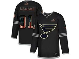 Mens Nhl St.louis Blues #91 Vladimir Tarasenko Black 2020 National Flag Adidas Jersey